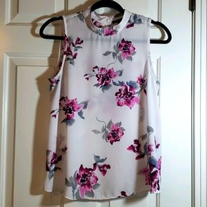Forever 21 White and Pink Sheer Top Size Small